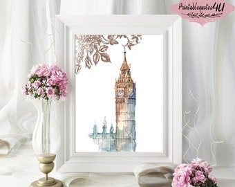 Big Ben Print, Big Ben Wall Art, Big Ben Printable, Big Ben Clock Handdrawn, London Big Ben Print, London Print, London Printable Art, 8x10