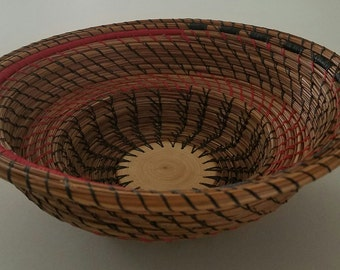 Pine Needle Basket - Red and Black Stair Stepped hand stitched bowl with Cypress wood - Man Cave - Gift Hand Made in FL USA - 75.00