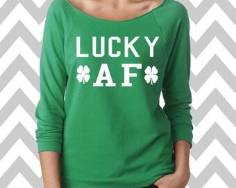 Lucky AF St. Patrick's Day Sweatshirt Oversized 3/4 Sleeve Sweatshirt Funny St. Patty's Day Sweatshirt Shamrock Sweatshirt