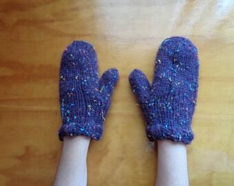 Tweed Purple Mittens