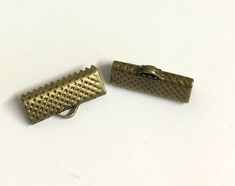 20, ribbon crimps, ribbon clamps, ribbon end crimps, antique bronze plated crimps, 16mm ribbon crimps, bronze findings, jewellery making