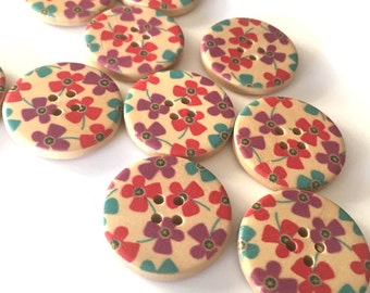 5, floral wooden buttons, floral buttons, 30mm buttons, large wood buttons, wooden craft buttons, sewing buttons, haberdashery supplies