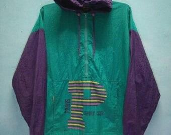 SALE 10 % Vintage 90s PARIS SPORT Club Windbreaker Hoodie Size S