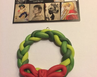 Polymer Clay Braided Christmas Wreath Ornament