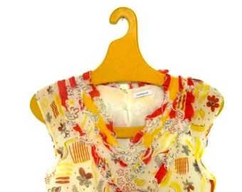 Silk Cacharel Abstract Delicate and Feminine  Yellow and Red  top XS