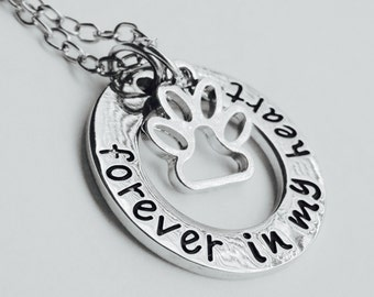 Forever in my heart pet memorial necklace