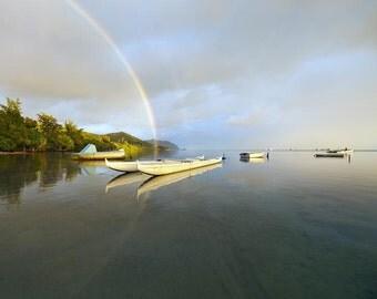 "Hawaii Photography, Fine Art Print,  Wall Art, Kaneohe Bay, ""Rainbow Sunrise Kaneohe Bay"""