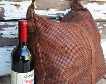 Camel Soft Woven Italian Leather Hobo Bag
