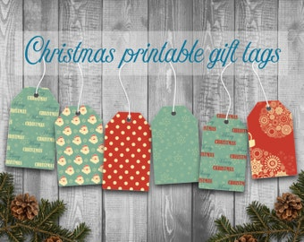 Sale: 30% off printable Christmas gift tags, Retro gift tags, Christmas gift tags, Instant download