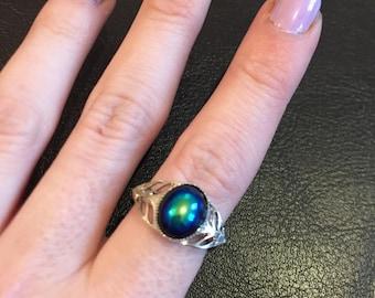Jet black AB ring, Aurora Borealis ring, Preciosa Austrian crystal ring, Ajustable ring item 378 by CraftyLittleMokeyGB