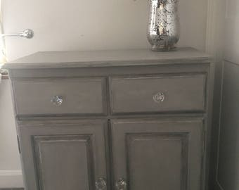 Beautiful Paris Grey Silver Edged Dresser Cabinet with Floral Decoupage Interior//Crystal Knobs//Home Sweet Home//Furniture//Shabby Chic//