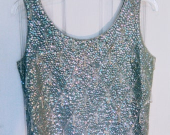 Vintage Sequin Tank Top Aqua Blue Beaded Sleeveless Blouse Vintage 1950's / 1960's Women's Size 36