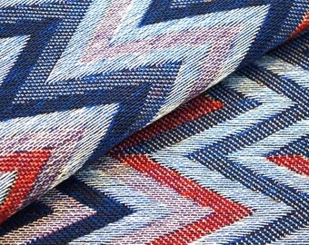Blue and Red Zig Zag Pattern Cotton Upholstery Jacquard Fabric by the Yard