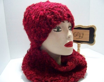 Tuque and cache neck (snood) (curly wool) rougr wine # 308
