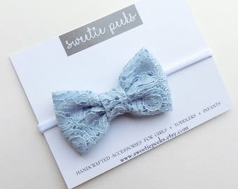 Soft Blue Lace Hair Bow | Baby Hair Bow | Lace Hair Bow | Bows For Toddlers | Girls Lace Bow | Infant Hair Bow | Baby Girl Headband
