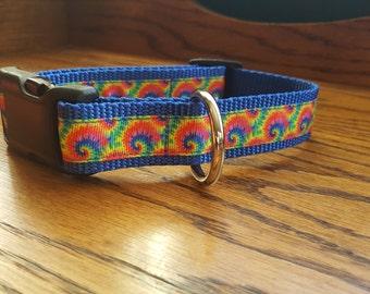 Royal Blue Tie-Dye Dog Collar