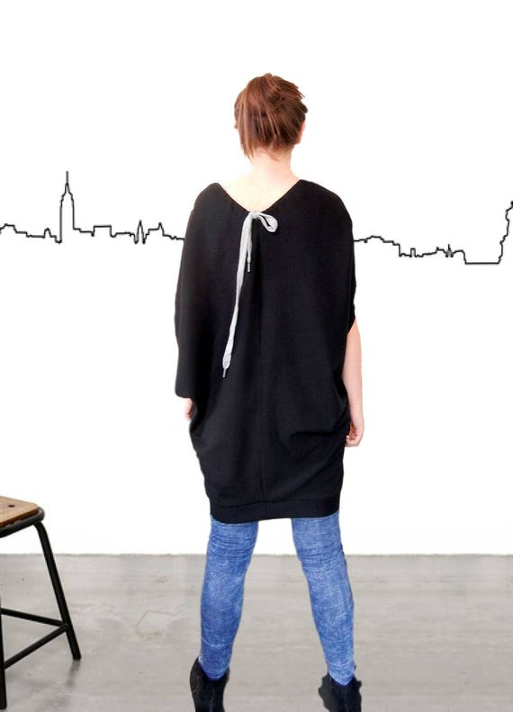 Flattering Rakish Dress Tunic / Oversized Dashing Top Tunic / Lax Slack Plus Size Dress / Loose Fitting Casual Relaxed Dress / Mod Daring