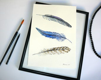 Feather Painting Watercolor Original Painting  Feather painting in Blue Grey  Brown Watercolor Feathers Home Decor Wall Art