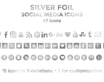 Silver Social Media Icons Buttons Website Icons Silver Foil Blog Icons Silver Social Media Icons Social Media Graphics Twitter