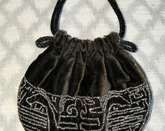 Hand-Beaded Small Black Velvet Evening Bag – Vintage