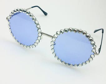 Blue and Diamante Vintage Look Sunglasses