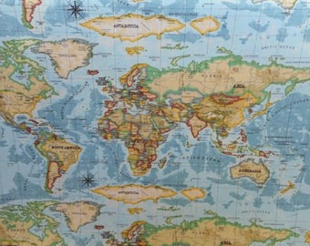 Prestigious Textiles Atlas World Map Azure 100% Cotton Craft Curtain Upholstery Fabric | By The Metre