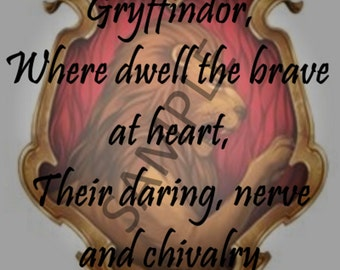 Gryffindor Sorting Hat Song 5x7 Instant Download