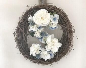 Front door wreath, monogram wreath, grapevine wreath, customized wreath, front door decor, SPRING decor, wall decor