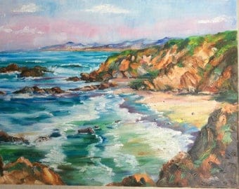 Sea and beach, Nature theme, Painting oil an canvas, oil on canvas (relief with a spatula) Impressionism 40X30cm, free shipping!