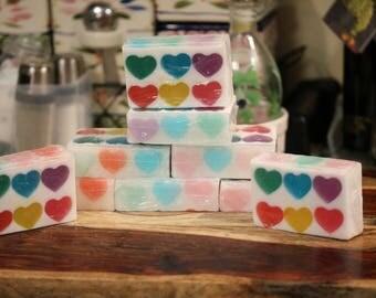 Rainbow Hearts Soap
