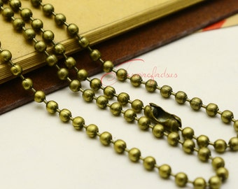 5PCS--70mm, Ball Chains, Antique Bronze 3.0mm Ball Chain Necklace with Connector
