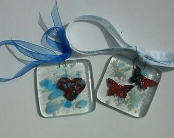 Two fused glass gift tags, hanging decoration, hearts, butterflies