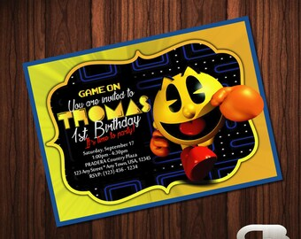 Pacman Invitation - Pacman Invite - Pacman Birthday Invitation - Pacman Birthday Party - Pacman Digital File Download