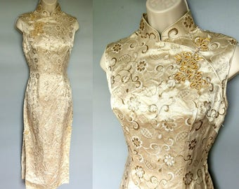 paramour / 1960s gold brocade cheongsam dress with slit skirt / 2 4 xs xxs