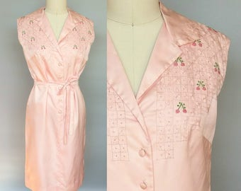 bowl o cherries / 1960s pink silk sleeveless dress with embroidered cherries / 8 10 medium