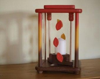 Lanterns, wood, multi coloured, height 27 cm