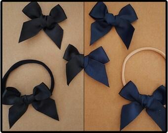 Grosgrain bow headband - navy bow headband -black bow headband - navy bow clip - black bow clip - nylon headband - cute baby headband