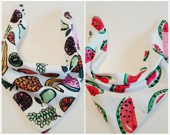 Bandana bib - dribble bib - fruit print - watermelon print - baby bandana bib - baby bib - baby girl bandana bib