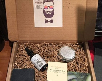 Beard Kit, includes Organic Beard Oil, Beard Balm, All Natural Handcrafted Soap!