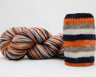 "Self Striping Sock Yarn, Fingering Weight Yarn, Hand Dyed Sock Yarn, ""Ember"" Dyed to Order"