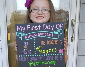 First day of school chalkboard, 1st day of school chalkboard, customized back to school chalkboard, reusable chalkboard sign, photo prop