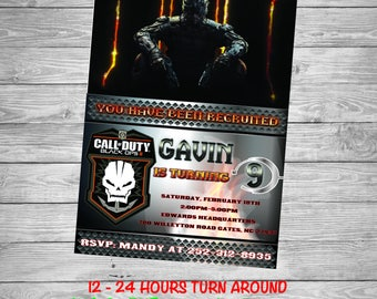 Call Of Duty Invitation, call of duty party, call of duty invite, birthday, party, birthday party, military, cod birthday, army, black ops