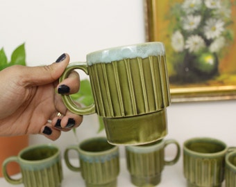 Stackable Green and Blue Japanese Stoneware Mugs- Set of 6