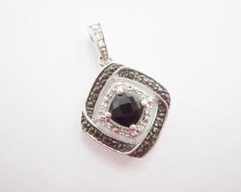 Diamond Pendant, Sterling Pendant, Black Diamond, Black Onyx, Vintage Pendant, Sterling Silver Onyx & Black White Diamond Pendant #2904
