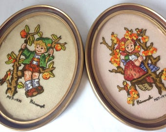 Vintage Pair of Hummel Crewel Needlepoint Framed Pictures
