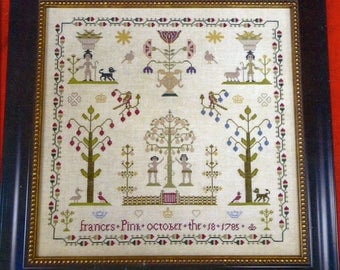 Frances Pink 1785 Reproduction Sampler by Victorian Rose Needlearts Counted Cross Stitch Pattern/Chart