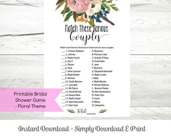 Printable Bridal Shower Game, Famous Couples Match, Instant Download Floral Theme PDF, WLP273