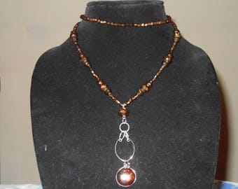 Amber stone and beaded necklace
