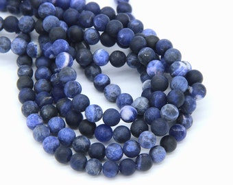 Natural Matte Sodalite Beads 6 8mm 10 12mm Blue Beads Navy Blue Gemstone Beads Mala Beads Supplies For Men Woman Bracelet Necklace