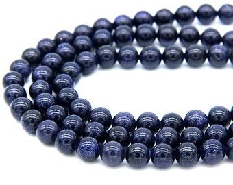 Blue Sandstone Beads 8mm Sandstone Beads Blue Beads Navy Blue Bead for Men Women Bracelet Necklace Mala Beads Sandstone Jewelry Supplies